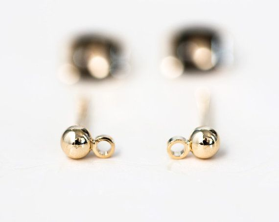 1168_Gold plated earhook, Ball ear post, Ball earhook, Earwire,Ball post stud…