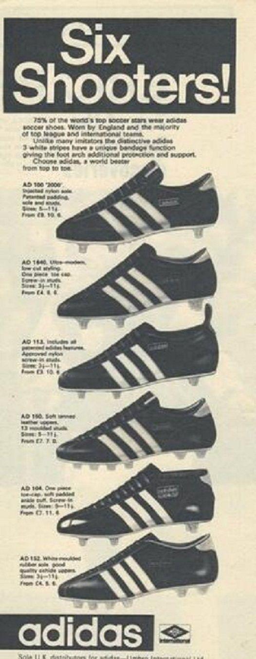 Six Shooters!!! seis estilos de tachones de la marca ADIDAS de los 60's. Via FÚTBOL VINTAGE & RETRO /FOOTBALL VINTAGE & RETRO