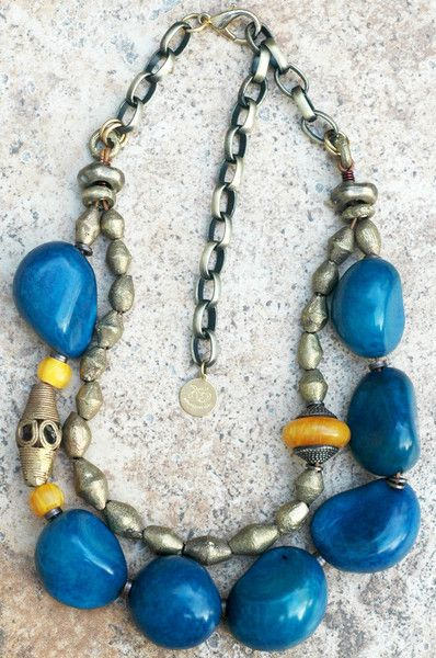 Blue Tagua: Bold and Organic Blue Tagua Nut and African Brass Statement Necklace $225