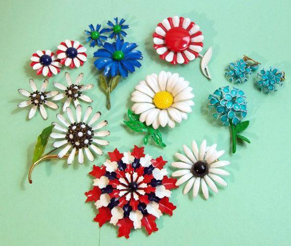 Vintage enamel flower pins
