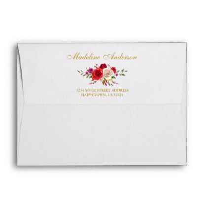 Watercolor Floral and Gold Envelope - floral bridal shower gifts wedding bride party