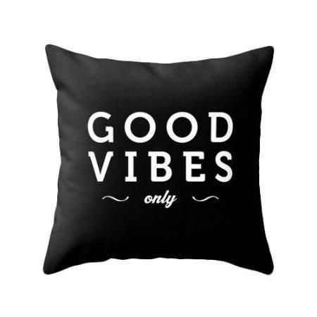 Good vibes only Black typography throw pillow Black and white pillow case - Crystalline