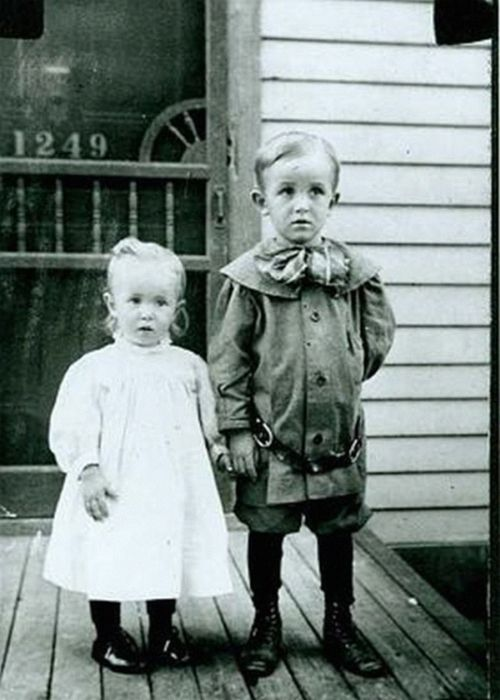 Walt Disney (1901-1966) and his sister Ruth, circa 1905.  He was the creator of…