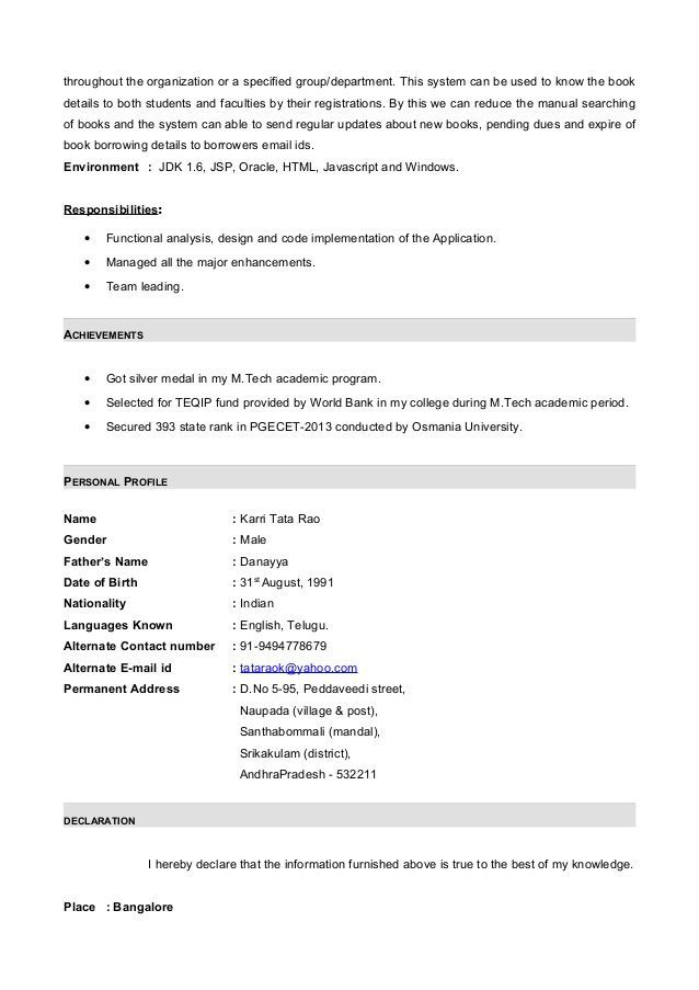 Resume Format For 6 Months Experience In Java Resume Format Internship Resume Resume