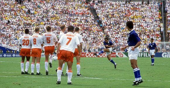 Brazil 2 Holland 2 in 1994 in Dallas. Branco scored from a long range free kick with 9 mins left to make it 3-2 in the World Cup Quarter Final.