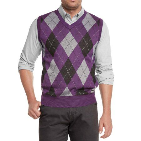 True Rock Mens Athletic Cut Argyle V Neck Sweater Vest Jatbp