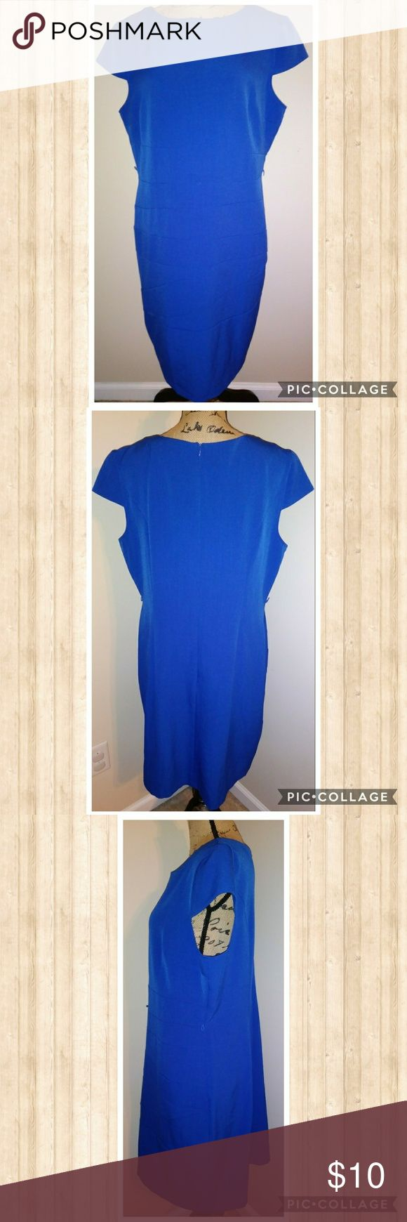 "Alyx Colbalt Blue Dress -- Size 18 Brand: Alyx Dress Size: 18 Length: 36"" Bust: 22""   Waist: 19"" Sleeve Opening: 9"" Hip: 21-22"" Hem: 24"" Description: Bright and cheery blue dress that can be worn for work or play! Material: 94% polyester 6% spandex Condition: EUC -- is missing a belt/sash but no other noticeable flaws! *smoke free, pet friendly home*ships out same or next day* Alyx Dresses"