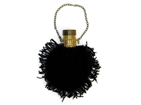 French Antique Gate Top Purse. Art Deco Black Suede Coin