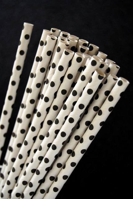 Black Mini Polka Dot Paper Straws and PDF by CupcakeSocial on Etsy, $4.25