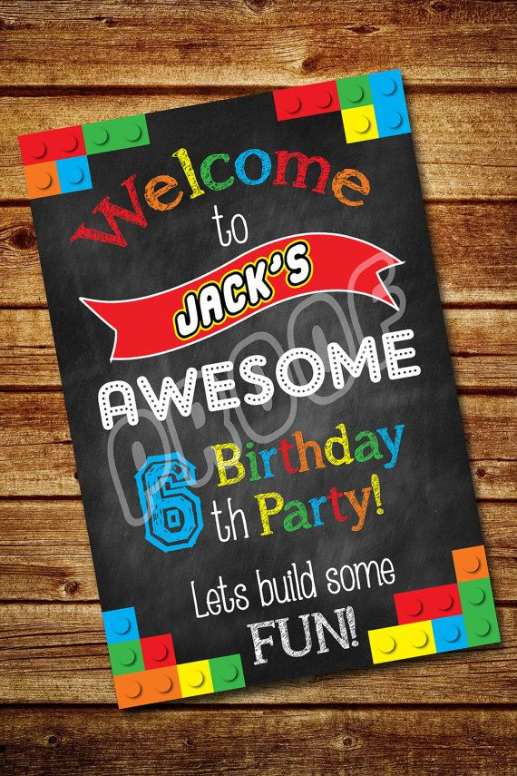 Lego Party Welcome Sign Customized Digital File by 4BeesDesign
