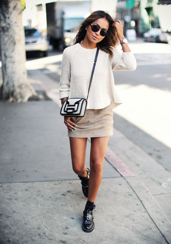 spring / summer - street chic style - beige suede mini skirt + cream crop sweater + black and white shoulder bag + black double strap shoes or booties + black sunglasses
