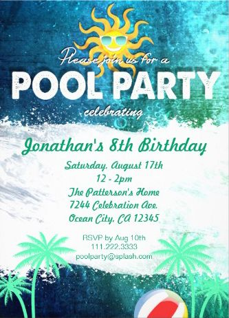 25 best Pool Party Invitations images on Pinterest Invitations - pool party invitation