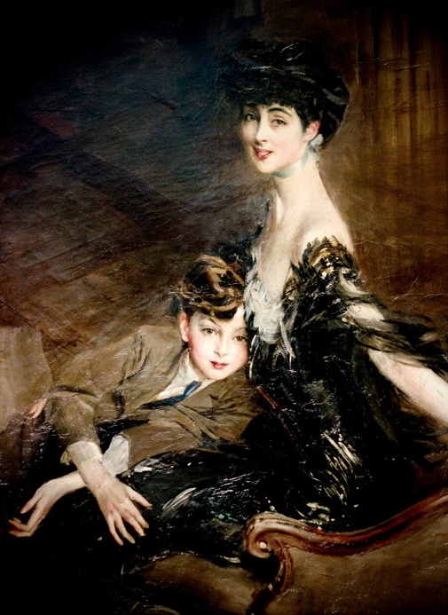 Portrait of Consuelo Vanderbilt, Beautiful painting of the Duchess of Marlborough and her son, Lord Ivor Spencer-Churchill by Giovanni Boldini.