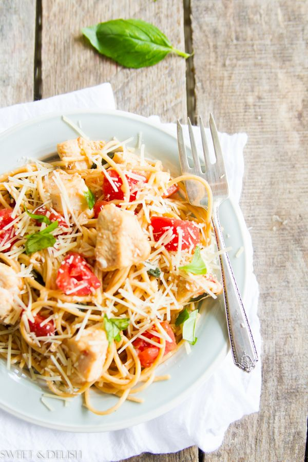 Chicken Tomato and Basil Pasta - the perfect one dish meal, and good for you too!