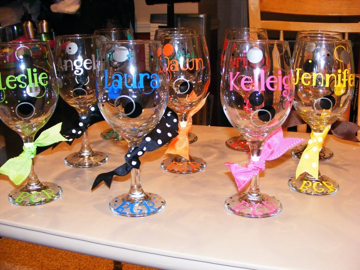 Personalized/decorated Wine Glasses 20 oz.. $10.00 USD, via Etsy.