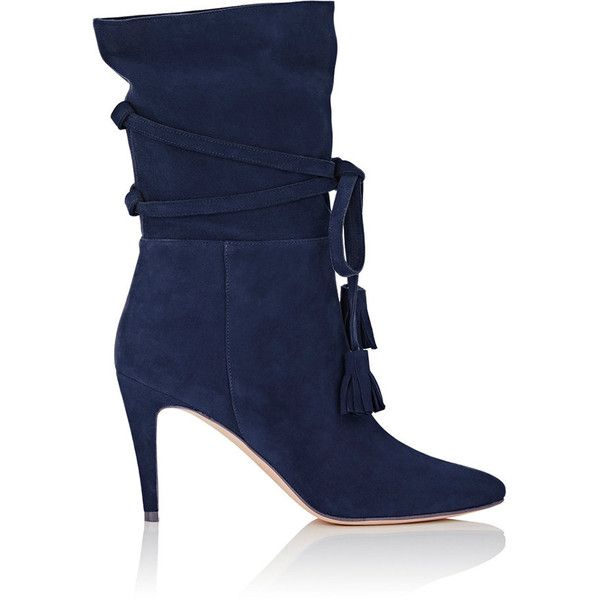 Manolo Blahnik Women's Cavamod Suede Ankle Boots ($599) ❤ liked on Polyvore featuring shoes, boots, ankle booties, navy, slouch ankle boots, suede ankle boots, navy blue suede booties, pointed toe booties and navy booties