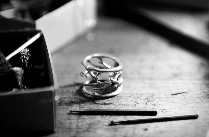 Golden Forest Collection   Golden Forest ring in the making by a goldsmith in Copenhagen  Designed by Charlotte Lynggaard