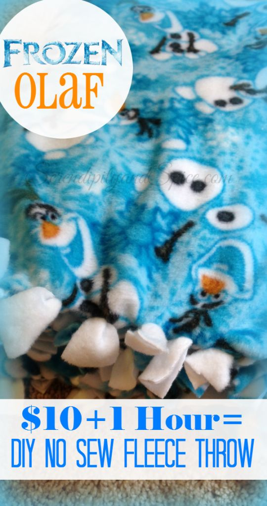 Frozen's Olaf DIY No Sew Blanket Make this adorable blanket for your Frozen fan in less than an hour for less than $10! So Little Man is absolutely NUTS about Olaf from Frozen! He's so crazy about Olaf that we're doing a whole Frozen themed birthday later this month and Olaf is the complete inspiration. …