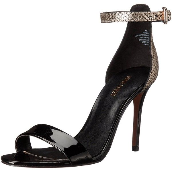 Nine West Women's Mana Metallic dress Sandal ($63) ❤ liked on Polyvore featuring shoes, sandals, dress sandals, metallic dress sandals, metallic shoes, metallic sandals and easy spirit sandals