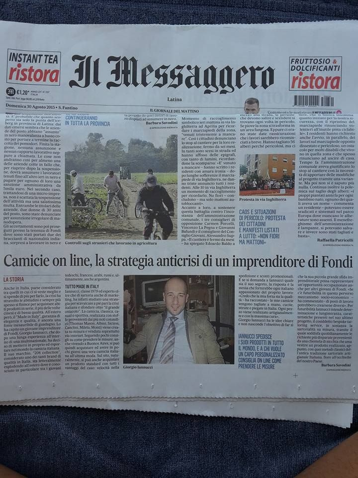 #208Collection #sunday 30 #august 2015 #italian #newspaper #IlMessaggero talk about my #company and #bespoke #tailoring #service @ilmessaggero thank you! https://www.facebook.com/208Collection/photos/a.403940593065462.1073741829.318649334927922/745281702264681/?type=1&theater