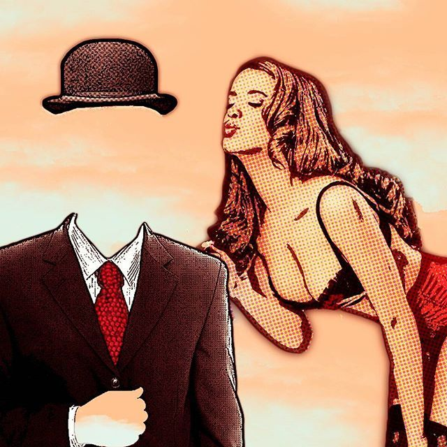 """My recent digital work """"This Is Not A Kiss"""", #Magritte inspired #popart  #pinupgirl #kiss #thisisnot #surreal #magritteinspired"""