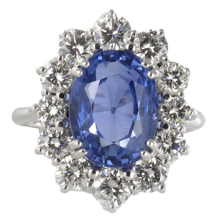 7.42 Carat Ceylon Sapphire Diamond Gold Ring, Circa 1960