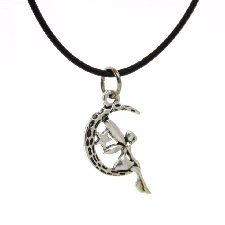 "[$5 Minimum] 2016 New Men/Women Jewelry Vintage Silver Moon Girl Star  Pendant 17"" Short Necklace Girls Kids Friend Gift  YW7140"