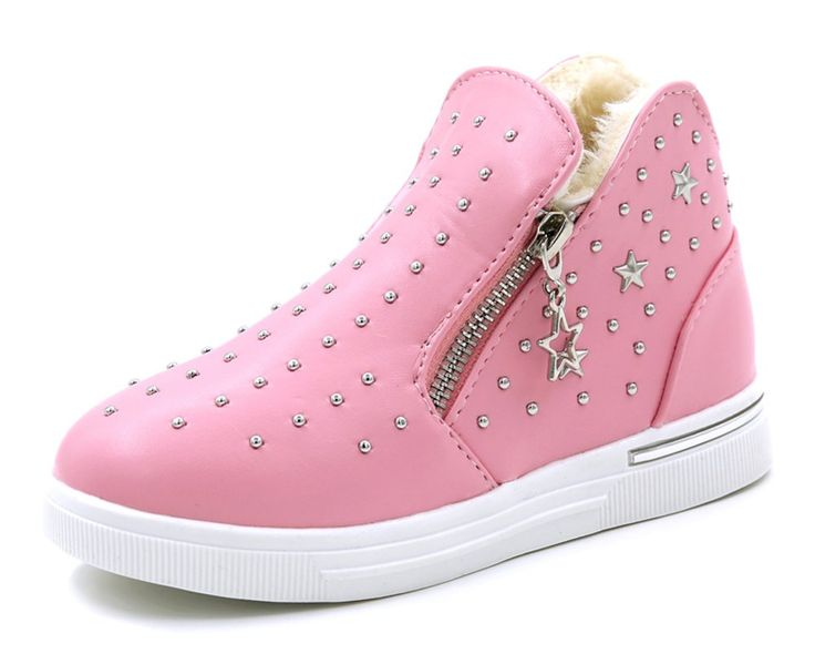 iDuoDuo Girls Fashion Studded Short Boots Leather Zipper Princess Dress Sneakers Running Shoes Pink(Winter) 13.5 M US Little Kid. PLEASE NOTE: Autumn features cotton fabric material inside and Winter features warm fur lining. Girls short boot with high top pull-on closure. Side Zippers design not only fashion but also help kids easier to wear the shoes. Featuring waterproof PU leather material with fashion rivets at vamp. Soft and anti-slip rubber sole, cushioning, shock absorption and…