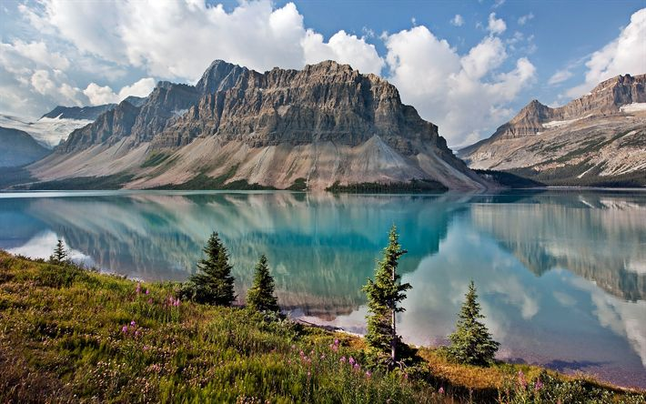Herunterladen hintergrundbild bow lake, alberta, 4k -, gletscher-see, bergsee, berge landschaft, banff national park, kanada