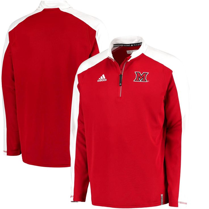 Miami University RedHawks adidas 2016 Football Coaches climalite Quarter-Zip Jacket - Red - $55.99