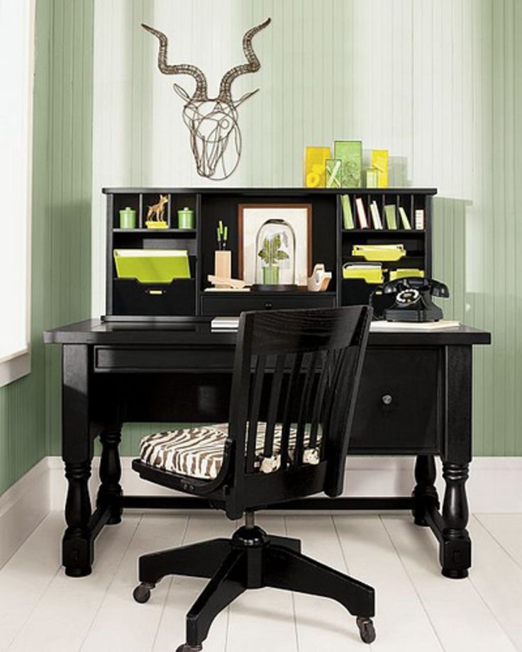 Superior Interior, : Casual Home Office Decorating Design Ideas With Black Wood Office  Desk With Turned Legs, Vintage Office Chair And Zebra Pattern .