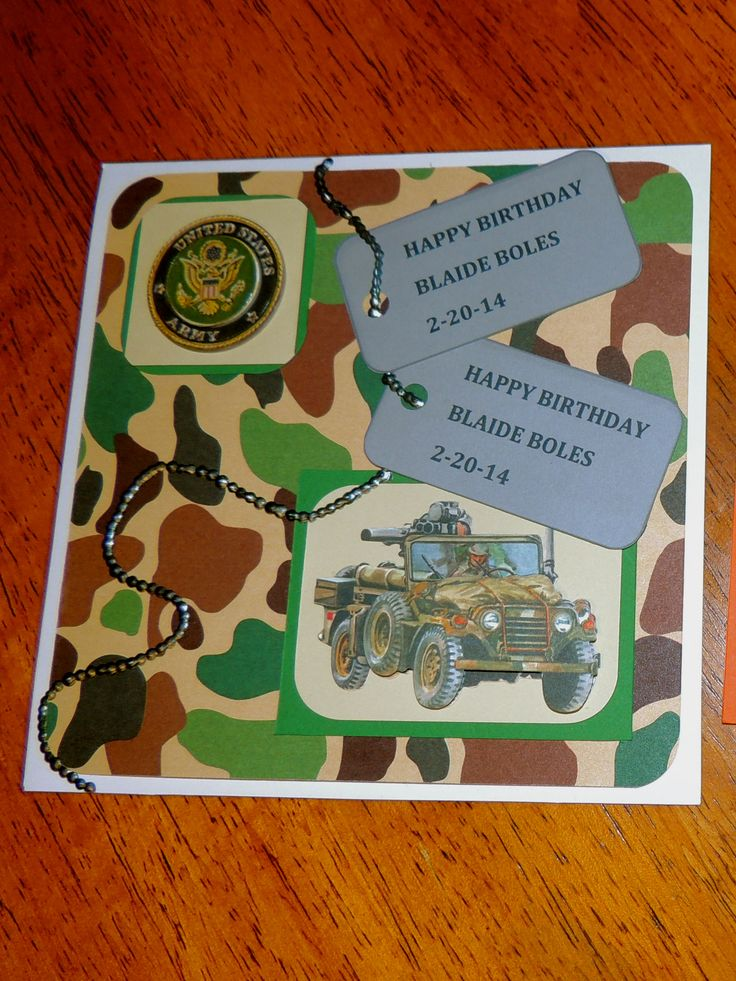 23 best teb images on pinterest homemade handmade crafts and handmade card diy boy happy birthday card army camo dog tags bookmarktalkfo Image collections