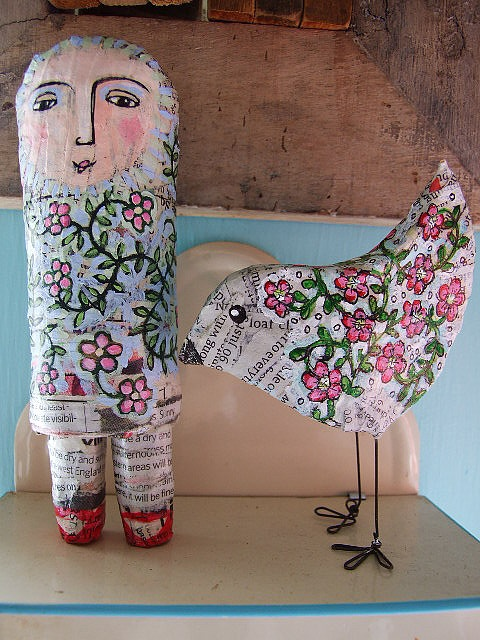 May and blossom bird in paper mache