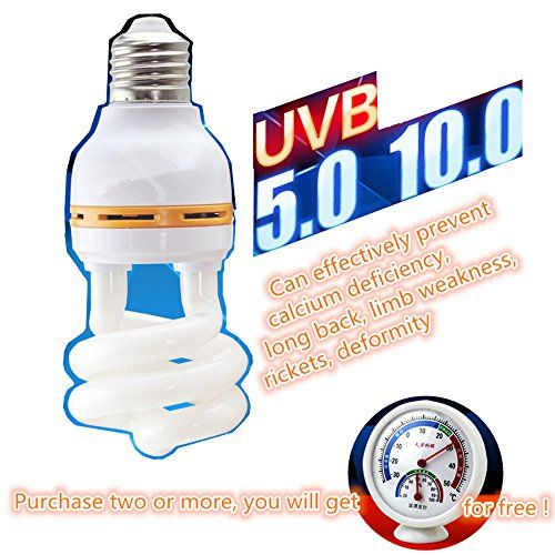 DREAMER.U UVB Bulb / Lamp / Light 5.0 Rainforest type 10.0 Desert type for Reptile and Amphibian Use - Excellent UVA UVB Reptile Light / Reptile Bulb (10.0 Desert type)  10.0 DESERT TYPE--It is suitable for reptiles living in the tropical desert, such as: King lizard, leopard tortoise, Geochelone sulcata tortoises, dipsochelys dussumieri, radiation, Geochelone yniphora, maned lion lizard and the growth of desert succulents etc..  UVB Ultraviolet rays Can effectively prevent calcium def...