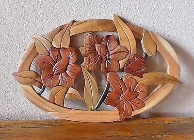 Three Hummingbird & Flower Intarsia Wood Art - Wood Decor Wall ...