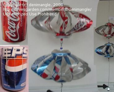 Photo of directions for making wind spinners from coke/soda/beer cans