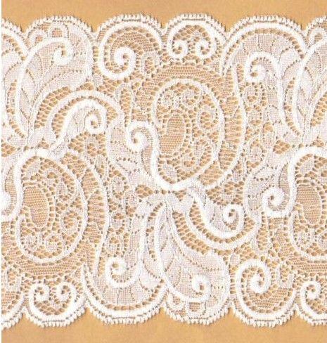 Jemná+elastická+krajka+-+bílá+pavučina+Šířka:+15+cm+Materiál:+viskoza,+nylon.+lycra+Struktura:+velmi+příjemná,+tenká+a+jemná,+hodně+elastická+Použití:+velmi+vhodná+na+prádlo+Cena:+za+10+cm+Barva:+bílá,+ne+sněhově