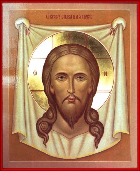 Holy Napkin Jesus Christ hand painted icon by Peter Dzyuba. He has some icons in stock and accepts commissions at www.iconsofglory.org