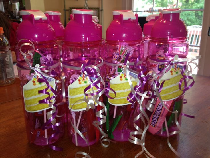 "Great ""goodie"" gift for kids birthday parties. Purchase water bottles at the dollar tree and fill them with cute trinkets or candy. Love this more than using 'goodie bags'!"