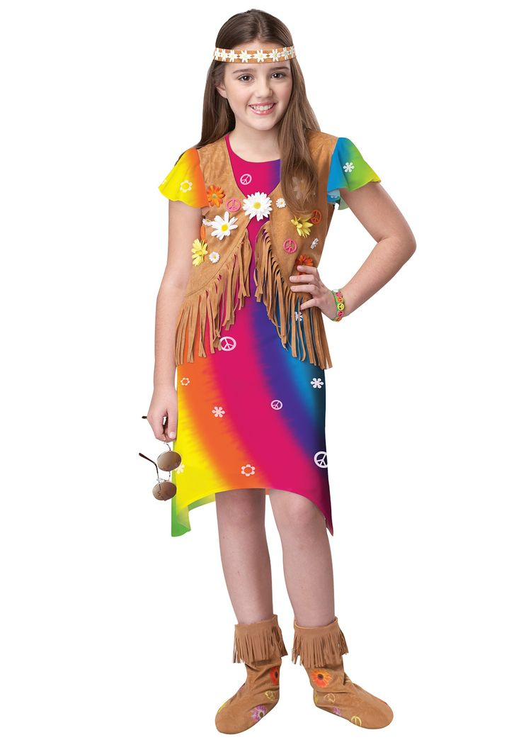 Hippy Costumes For Kids Girl  Bright Hippie Girl Costume -1744