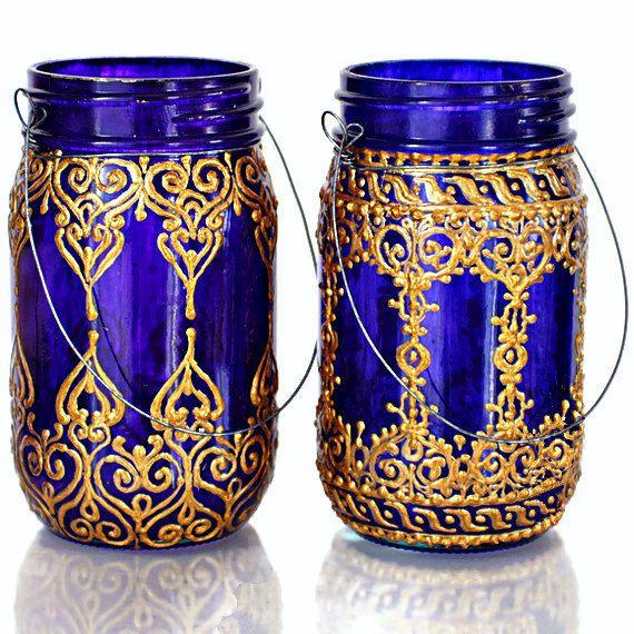 Hand Painted Mason Jar Lantern Royal Purple Glass with by LITdecor