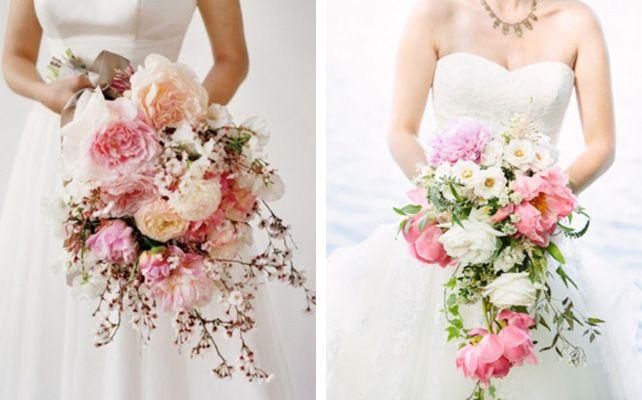Страстный каскадный букет невесты
