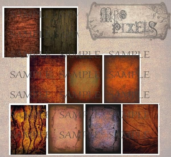 Hauntingly spooky, absolutely dreary and dark, nature's rust offers the elements to create these textured background images in shades of olive, brown, orange. #AlteredArtImages #DigitalDownloads #SpookyRust #ATCTextures #DarkDreary