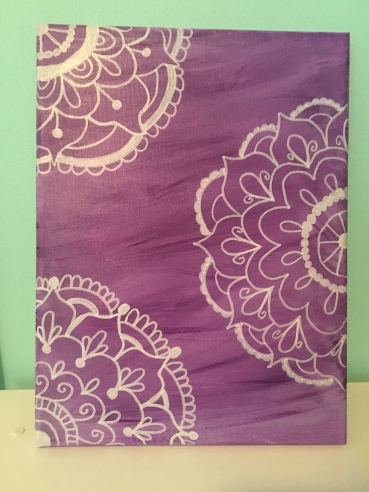 Purple mandala canvas painting. Easy DIY.
