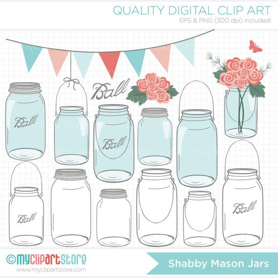 Shabby Chic Roses in Masson Jars / Mother's Day by MyClipArtStore, $4.50