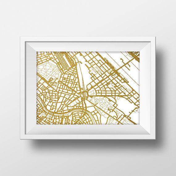 Gold Glitter Wien anzeigen Anfahrtsplan Wandkunst von alldigitall