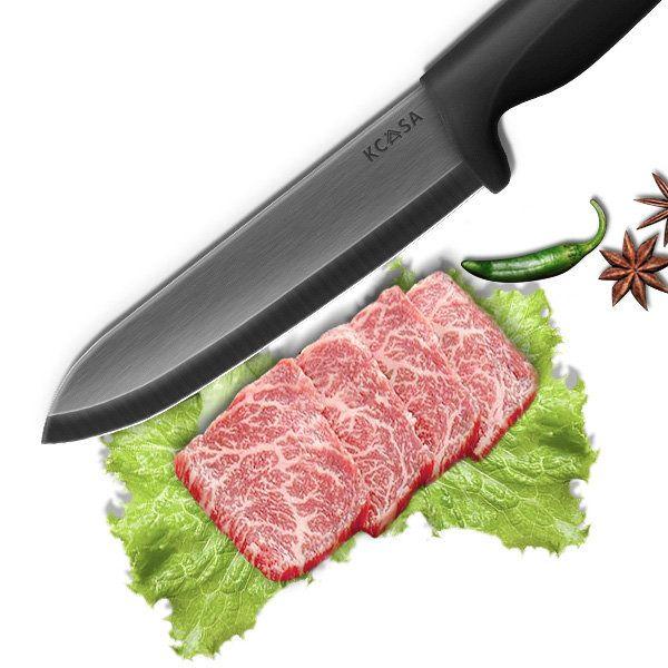 KCASA KC-KF6 5 Pieces Black Blade Ceramic Knife Set With Holder Multi-function Chef Peeler Slicer