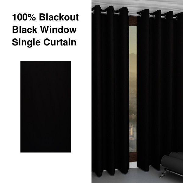 100 Blackout Black Window Single Curtain Curtains Black