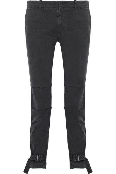 Nili Lotan - Bradley Buckle-embellished Cotton-blend Skinny Pants - Black