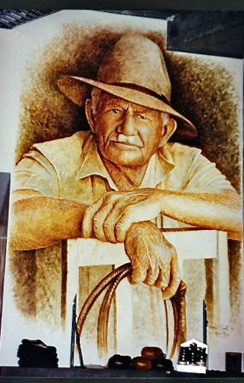 Portrait of R.M Williams AO • an iconic Australian legend • Founder of RM Williams Company outback outfitters clothing and accessories • born in Jamestown South Australia • Adelaide's icons